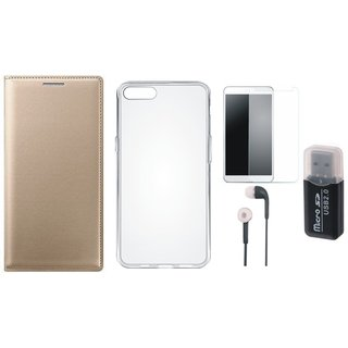 Vivo Y69 Leather Cover with Memory Card Reader, Silicon Back Cover, Tempered Glass and Earphones