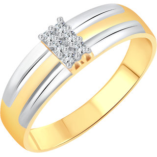 Vighnaharta Six Stone Band CZ Gold and Rhodium Plated Alloy Gents Ring for Men & Boys
