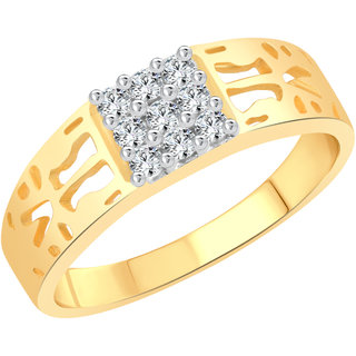 Vighnaharta Texture Design CZ Gold and Rhodium Plated Alloy Gents Ring for Men & Boys