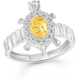 Vighnaharta Swastik Tortoise CZ Rhodium Plated Alloy Gents Ring for Men & Boys