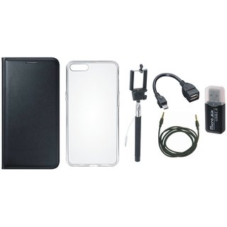 Vivo Y69 Flip Cover with Memory Card Reader, Silicon Back Cover, Selfie Stick, OTG Cable and AUX Cable