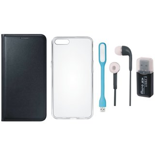 Oppo F5 Leather Cover with Memory Card Reader, Silicon Back Cover, Earphones and USB LED Light