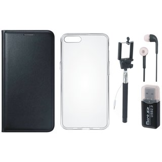Vivo Y69 Flip Cover with Memory Card Reader, Silicon Back Cover, Selfie Stick and Earphones