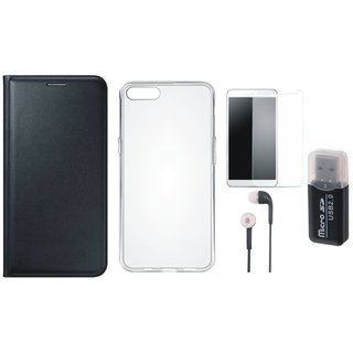 Oppo F5 Leather Cover with Memory Card Reader, Silicon Back Cover, Tempered Glass and Earphones