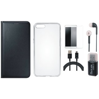 Oppo F5 Leather Cover with Memory Card Reader, Silicon Back Cover, Tempered Glass, Earphones and USB Cable
