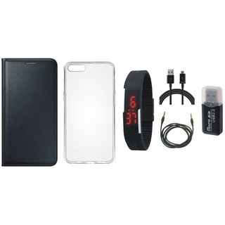 Oppo F5 Leather Cover with Memory Card Reader, Silicon Back Cover, Digital Watch, USB Cable and AUX Cable