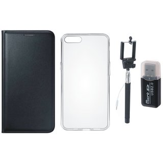 Oppo F5 Leather Cover with Memory Card Reader, Silicon Back Cover, Free Silicon Back Cover and Selfie Stick