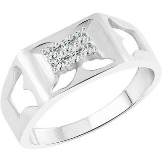 Vighnaharta Designer CZ Rhodium Plated Alloy Gents Ring for Men & Boys