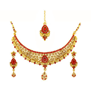 GOH Womens Gold Plated Gold Brass  Copper Necklace Set