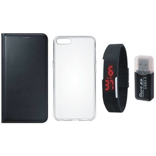 Oppo F5 Luxury Cover with Memory Card Reader, Silicon Back Cover, Digital Watch