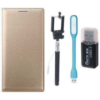 Moto E4 Flip Cover with Memory Card Reader, Selfie Stick and USB LED Light