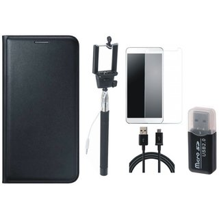 Oppo F5 Luxury Cover with Memory Card Reader, Free Selfie Stick, Tempered Glass and USB Cable