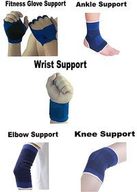Atyourdoor Fitness Glove, Ankle, Wrist, Knee and Elbow Support for Gym and Physical Activities (Free Size, Blue)