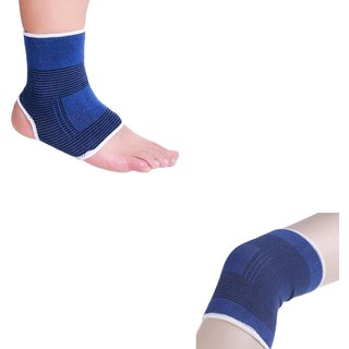 Atyourdoor Elastic Ankle and Knee Support for Gym Jogging Exercise Muscle Pain Health (Free Size, Blue)