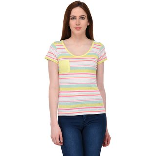 Grand Derby Multi Color V-Neck Cotton Striper Top