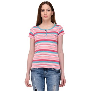 Grand Derby Multi Color Buttoned Cotton Striper Top