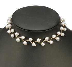 Elegant Bridal Simulated Pearl Clavicle Chain Necklaces For Women  Girls