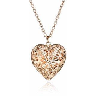 Stylish Teens Openable Hollow Heart Design Pendant For Girls & Women (Gold)