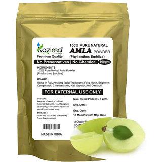 KAZIMA Premium Quality Amla Powder (100g) - 100% Pure Natural Herbal & Fresh - Face Mask Brightens Complexion Cleanses skin Hair Growth Anti-Dandruff