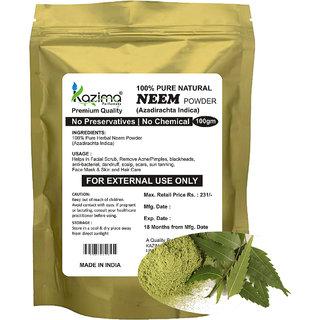 KAZIMA Premium Quality Neem Powder (100g) - 100% Pure Natural Herbal & Fresh - Remove Acne/Pimples blackheads anti-bacterial dandruff scalp scars