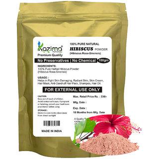 KAZIMA Premium Quality Hibiscus Powder (100g) - 100% Pure Natural Herbal & Fresh - Fight Skin Damaging Radiant Skin Skin Cream Hair Mask Anti-Dandruff Hair Pack
