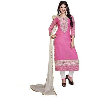 DnVeens Women Pure Cotton Embroidered Unstitched Salwar Kameez Suit Set Dress Materials BLMDMST08