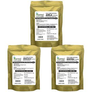 KAZIMA Combo Premium Quality (Amla + Reetha + Shikakai Pack of 3-in-1) 100% Pure Natural & Herbal POWDER 300g