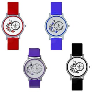 TRO-AS-102 Peacock Round Dial Analog Watch For Girls And Women (Pack Of 4)