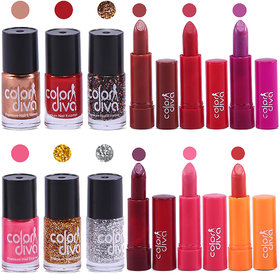 Color Diva Nail Paint And Color Addiction Lipstick Set of 12, GC551