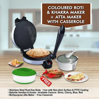 Dawn Coloured Roti and Khakra Maker + Atta Maker with Free Casserole (Silver) Roti and Khakra Maker