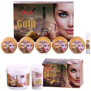Skin Diva Gold Facial Kit 285g With Gold Bleach Cream 43g Pack of 2 GC552