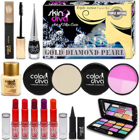 Skin Diva Triple Action Facial Kit With Beauty Special Combo Makeup Set of 13, G556