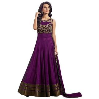 Omstar Fashion Purple Color Net Embroidered Gown With Inner  Duptta (Semi-Stitched)