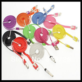 1m Colorful flat Micro Mini 1 Pin USB Data Sync Noodles Charger Flat Cable for Samsung HTC LG , Please change it as soo