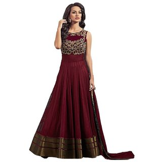 Designer Maroon color Smooth Net Material with Santoon Inner Floor-touch With Salwar Gown Look Semi-Stiched Dress By Oms