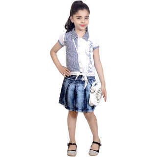 KBKIDSWEAR Girl's Denim, Cotton Party Wear Top, Skirt with Sling Bag