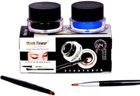 Music Flower Long Wear Gel Eyeliner Smudge Proof  Waterproof (BlackBlue) 3g With 2 Expert Eyeliner Brushes