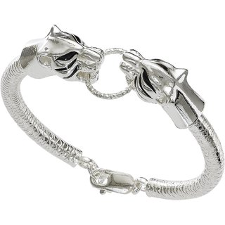 Shiyara Jewells Rhodium Plated 92.5 Sterling Silver Courageous Tiger Mens Bracelet MN00777