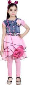 KBKIDSWEAR Girl's Denim, Net Party Wear Top Legging with Sling Bag
