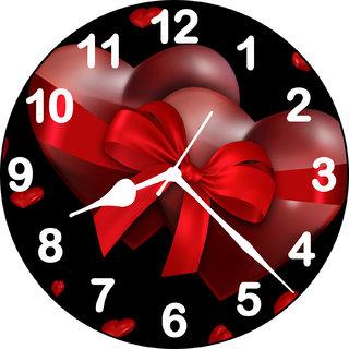 3d ribbon heart wall clock
