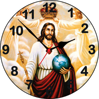 3d jesus with angel1 wall clock