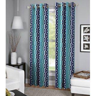 Tejashwi traders Blue box DOOR curtains set of 4 (4x7)
