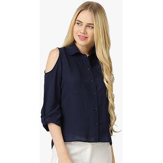 Women's Navy Blue Summer Polyester Cold Shoulder Shirt