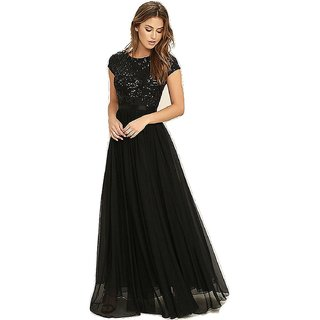 Women's Georgette Sequence Party Wear Gown Dress