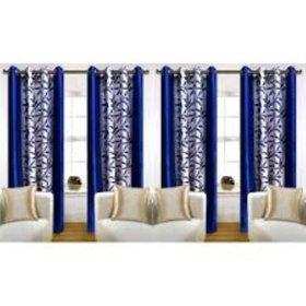 Tejashwi traders Blue kolaveri Door curtains set of 4 (4x7)
