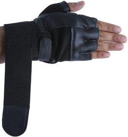 CP Bigbasket Gym Gloves - Black with Net with Wrist Strap(Black Gym Glove)
