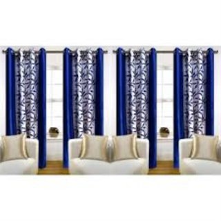 Tejashwi traders Blue kolaveri Door curtains set of 4 (4x7)