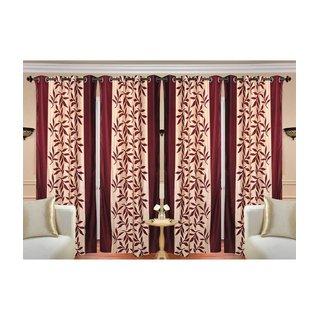 Tejashwi traders Maroon kolaveri Window curtains set of 4 (4x5)