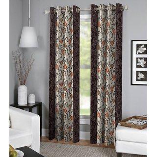 Tejashwi traders Brown flower Door curtains set of 4 (4x7)