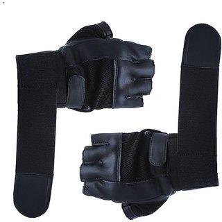CP Bigbasket Gym Gloves - Black with Net with Wrist Strap